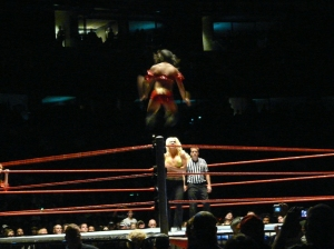 Gail Kim flies through the air.