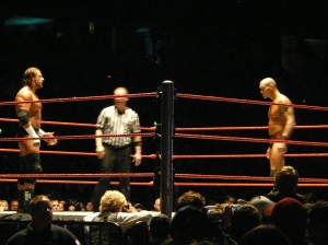 HHH and Randy Orton get ready to face off.